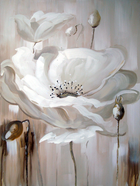 White Flower Ii Oil Painting.