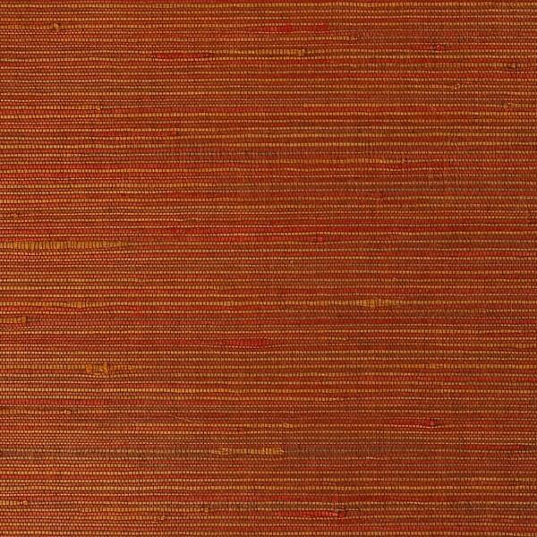 Duo Jute Red Yellow Grass Cloth Wallpaper Sample