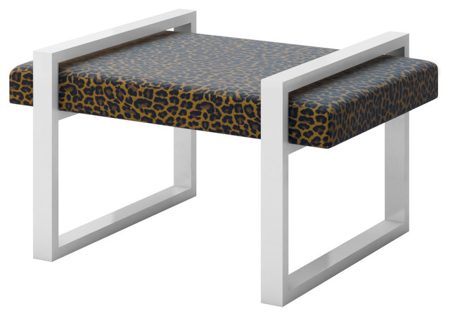 Leopard Cheetah Cat Animal Skin Print Accent Bench Contemporary Accent And Storage Benches