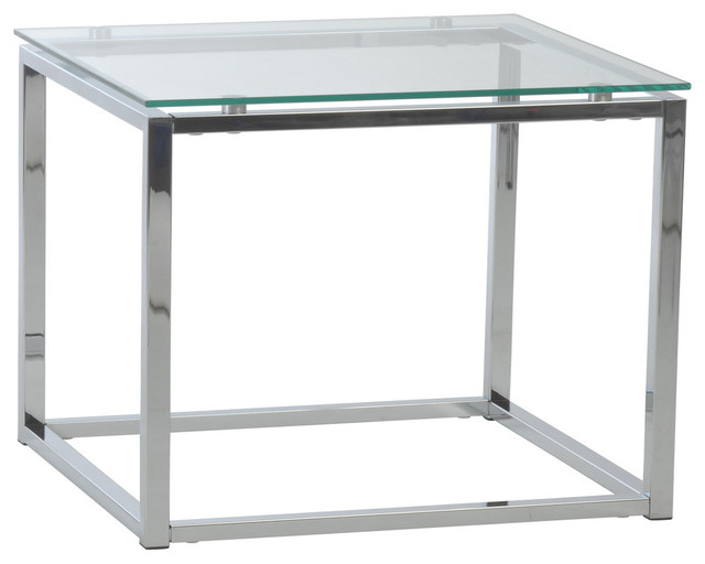 Sandor Rectangular Side Table With Clear Tempered Glass Top And Chrome Frame.