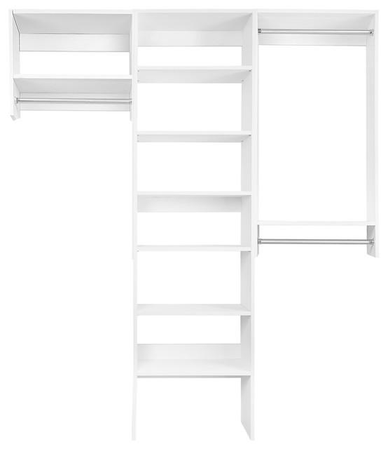6&x27; Bi-Level Hanging Organizer With Shelf Tower, Driftwood Gray.