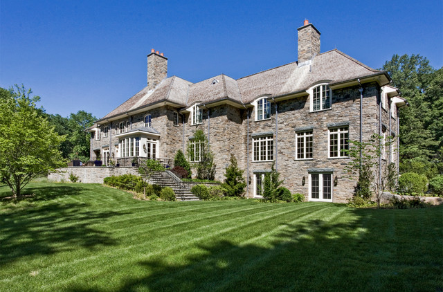 French provincial stone house in harrison ny for Pictures of french country home exteriors