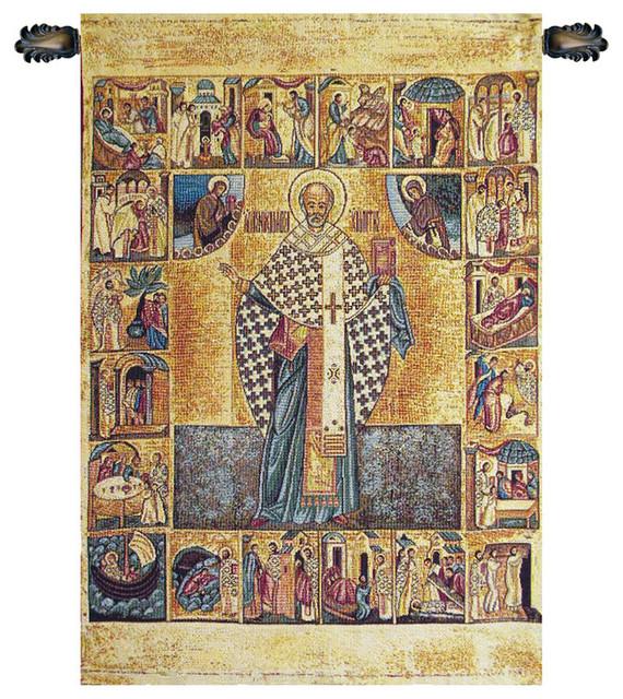 Saint Nicholas with Lurex Italian Wall Tapestry ...