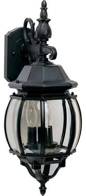 Crown Hill 3-Light Outdoor Wall Lantern, Black.