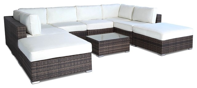 Outdoor Patio Furniture All Weather Wicker Sectional 9 Piece Set