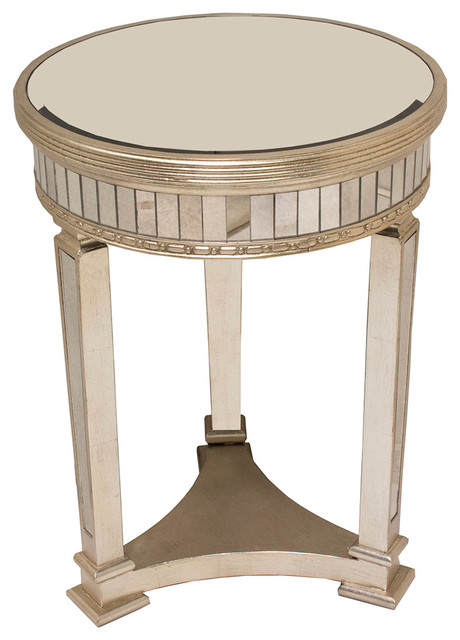 Borghese Mirrored Round End Table Transitional Side Tables And End Tables