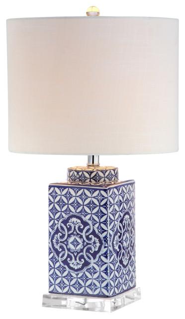 "Choi 23"" Chinoiserie Table Lamp, Blue/white."
