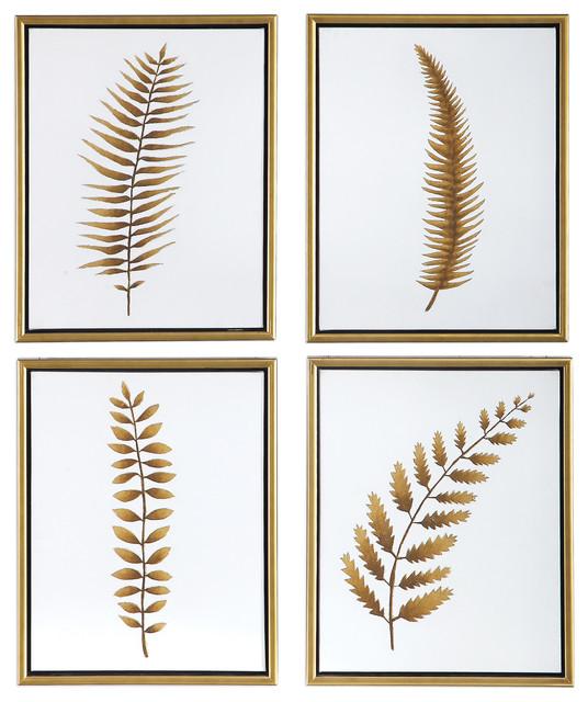Glam Set 4 Metallic Gold Leaf Paintings Wall Art Modern Contemporary Cream White