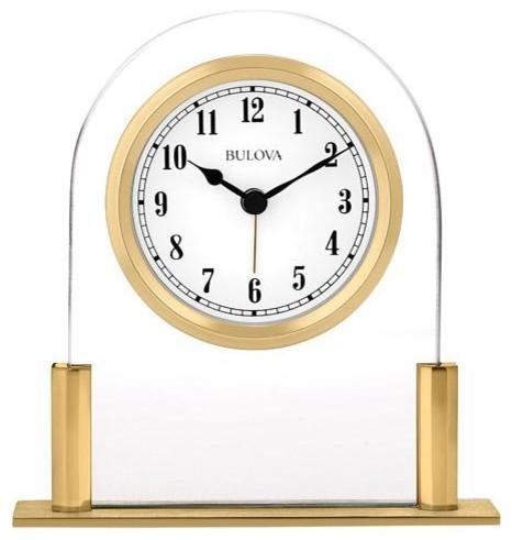 Bulova Colburn Executive Desk Alarm Clock Floating White Dial Gold Tone