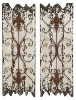 "Elegant Wall Decor elegant wall sculpture - wood metal wall decor set/2 32""h, 11""w"