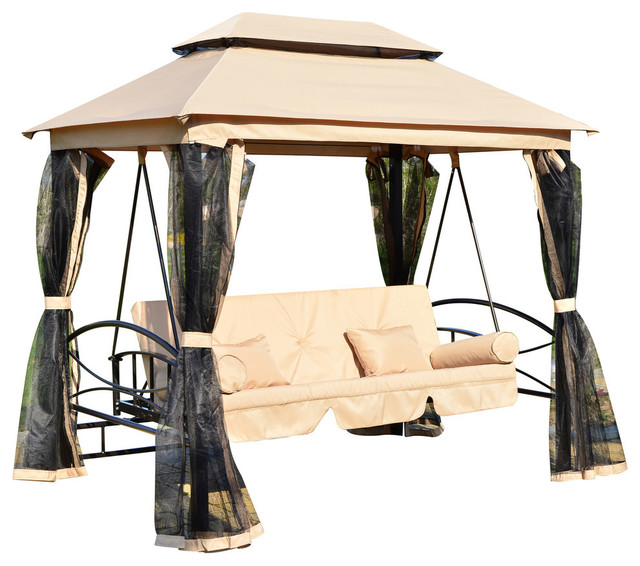 Aosom   Outsunny Outdoor 3 Person Patio Daybed Canopy Gazebo Swing, Tan  With Mesh