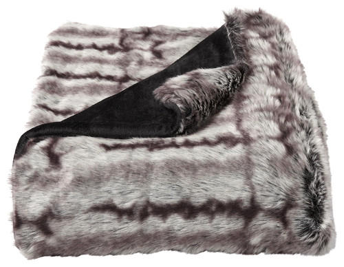 LHC Faux Chinchilla Fur Throw Blanket, Brown/Cream