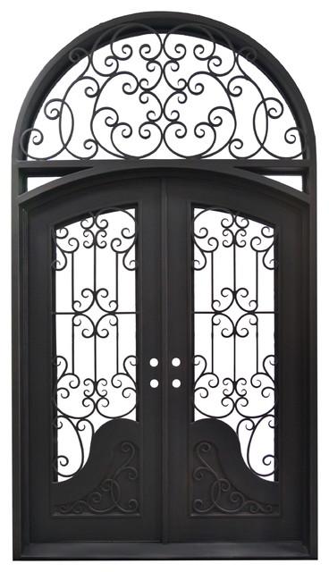 "Exterior Front Entry Iron Double Door, 114""x65""."
