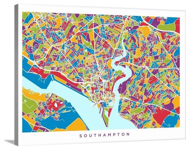 Big Map Of England.Southampton England City Map Wrapped Canvas Art Print 24 X18 X1 5