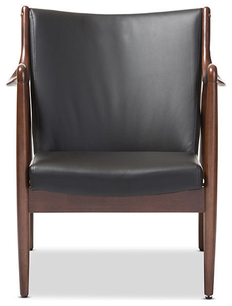 Shakespeare Retro Faux Leather Leisure Accent Chair, Walnut Wood Frame,  Black midcentury-armchairs
