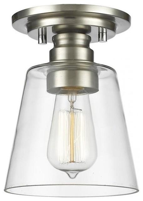 Z-Lite Annora 1-Light Flush Mount, Brushed Nickel.
