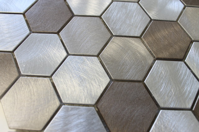New Amsterdam Brushed Aluminum Hexagon Mosaic Tile Sample