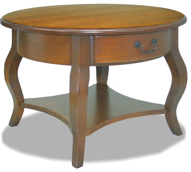Leick Round Storage Coffee Table Brown Cherry Coffee Tables By Harvey Haley