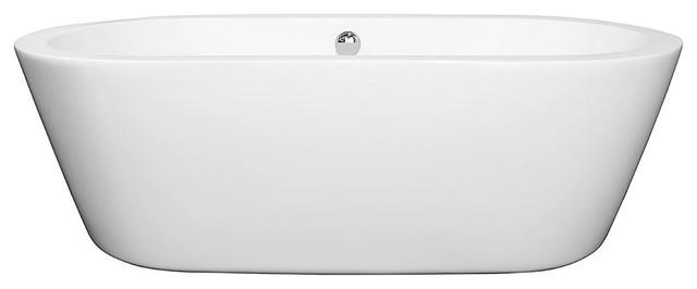 "71"" Center Drain Soaking Tub In White With Chrome Drain."
