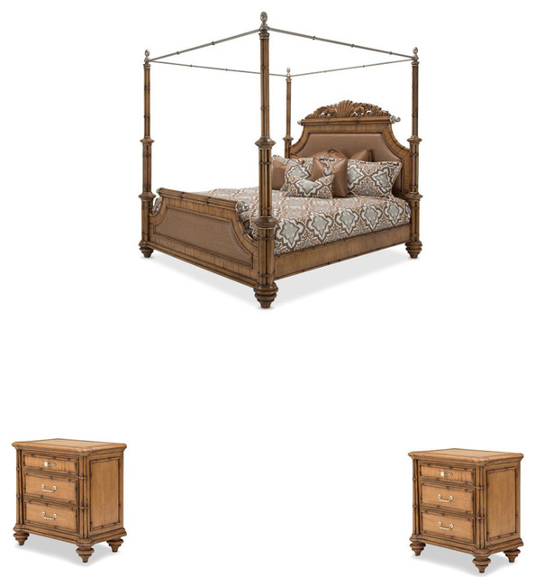 Excursions 3 piece canopy bedroom set traditional for Bedroom 3 piece sets