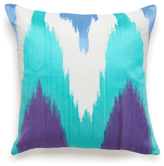 "Amy Sia Painterly 18""w X 18""l Periwinkle Flame Stitch Decorative Pillow."