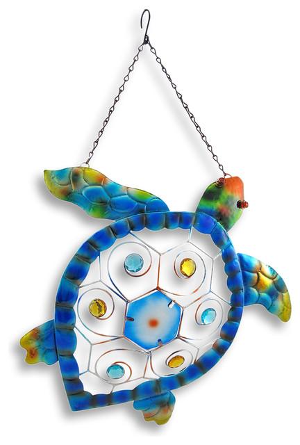 Colorful Metal Sea Turtle Wall Art Hanging