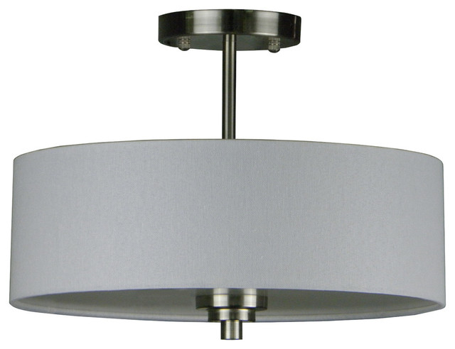 Camilla 3-Light Semi Flush, Satin Steel.