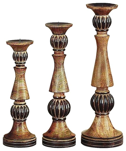 Elegant set of 3 wood pillar style candle holders dark Wood candle holders