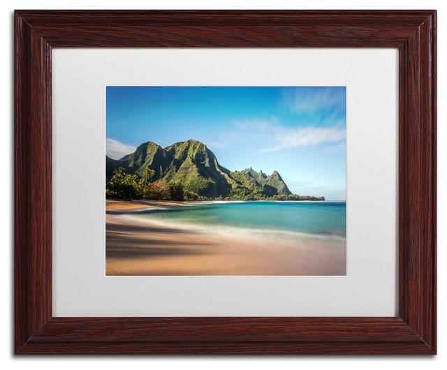 Pierre Leclerc &x27;makua Beach Kauai&x27; Matted Framed Art, Wood Frame, White, 14x11.