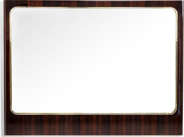 Lola Long Mirror, Smoked Figured Eucalyptus, Brass, Plain Mirror.