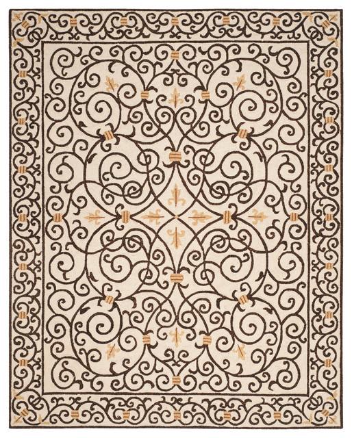 Braylen Hand Hooked Rug, Ivory/dark Brown, 7&x27;9x9&x27;9.