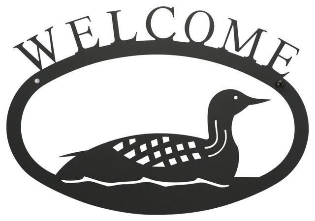 Village Wrought Iron Loon Welcome Sign Small Modern House