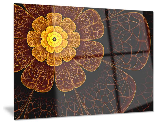 symmetrical orange fractal flower digital floral metal. Black Bedroom Furniture Sets. Home Design Ideas