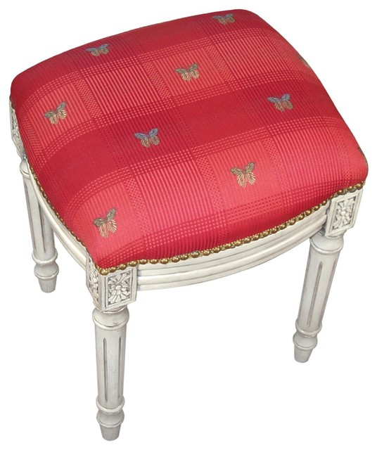Vanity Stool Butterfly Antique Whitewash Traditional