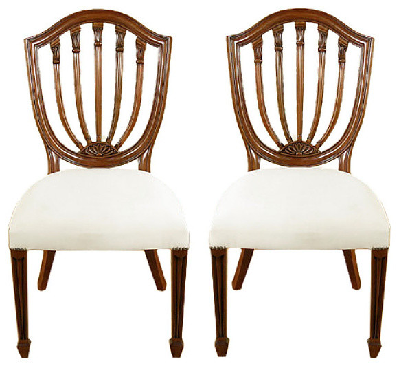 Pair of 2 Solid Mahogany Hepplewhite Shield Back Cream  : traditional dining chairs from www.houzz.com size 581 x 532 jpeg 80kB
