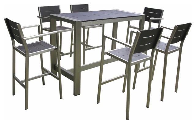 Aluminum 7 Piece Dining Bar Table and Bar Stools Set