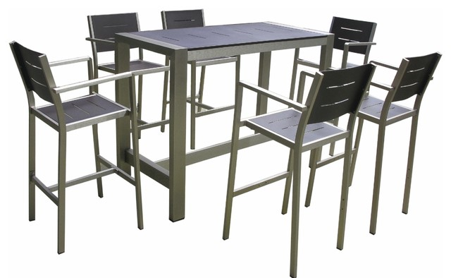 Aluminum 7 Piece Dining Bar Table And Barstools Set Contemporary Outdoor Sets By