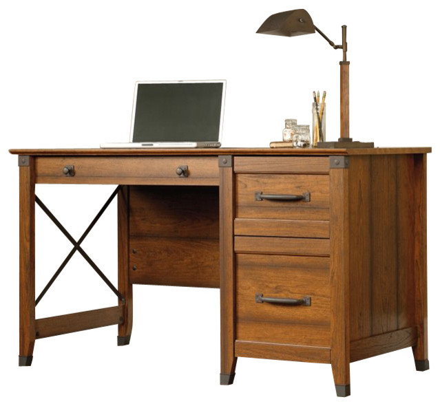 Sauder Carson Forge Desk in Washington Cherry Farmhouse Desks