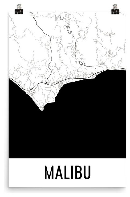 Malibu California Map Art Print Poster Wall Art Contemporary
