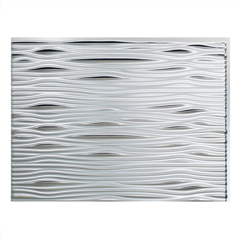 - Fasade Waves Backsplash Sample, Brushed Aluminum - Contemporary