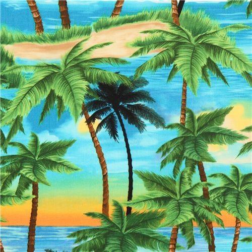 beautiful palm tree fabric sunset Timeless Treasures