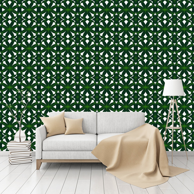 Peel And Stick Textured Wallpaper: Exotic Leaf Weave Patterned Peel & Stick Textured