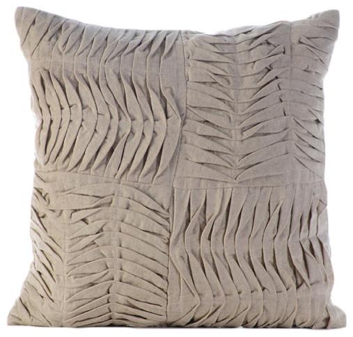 """Ruched Pintucks Beige Cotton Linen 12""""x12"""" Pillow Case, Tender Waves."""