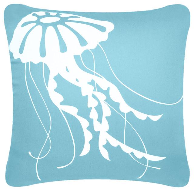 jellyfish eco coastal throw pillow cover ocean blue pillows