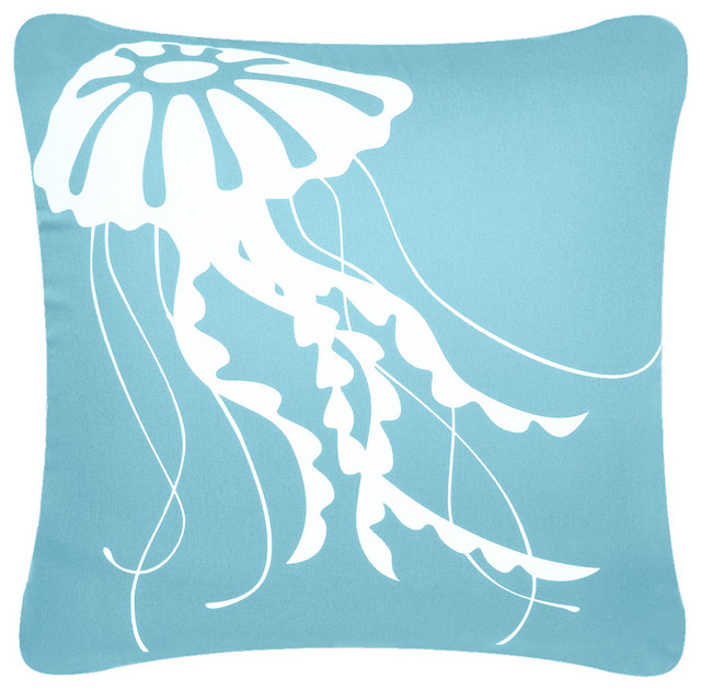Jellyfish Eco Coastal Throw Pillow Cover Beach Style Decorative Unique Coastal Throw Pillow Covers