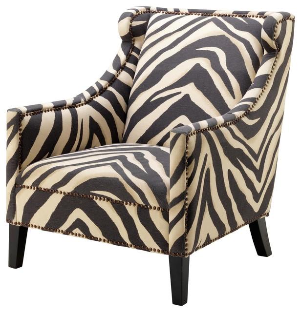 Jenner Modern Clic Zebra Print Nailhead Trim Accent Club Chair