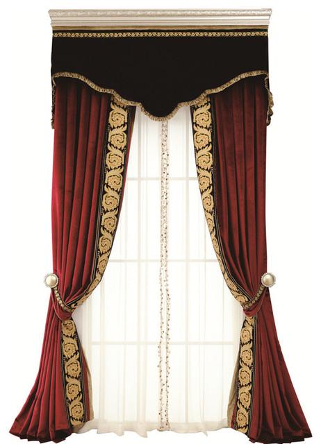 Flowing Luxury Curtains 3 Piece Set Victorian