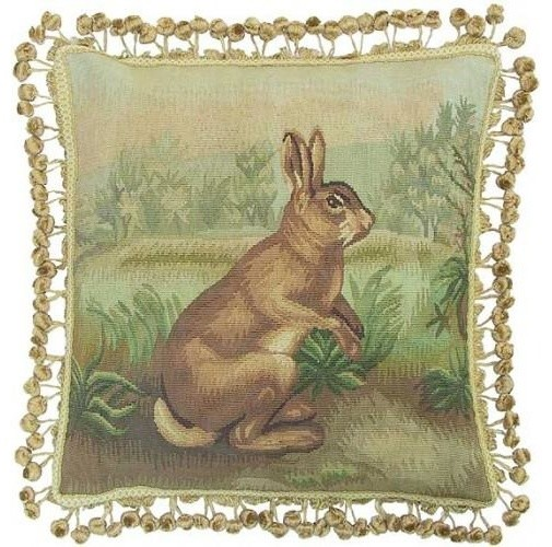 Aubusson Throw Pillow Standing Rabbit.