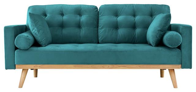 Modern Mid Century 2-Seater Tufted Velvet Sofa With Wooden Legs ...