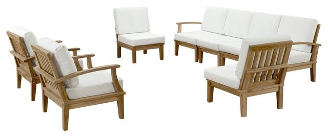 Marina 8 Piece Outdoor Patio Teak Sofa Set Eei-1817, Natural White.